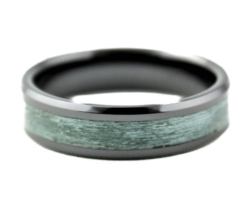 Black Ceramic Ring with Dyed Maple Inlay