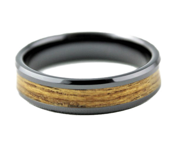 Black Ceramic Ring with Teakwood Inlay
