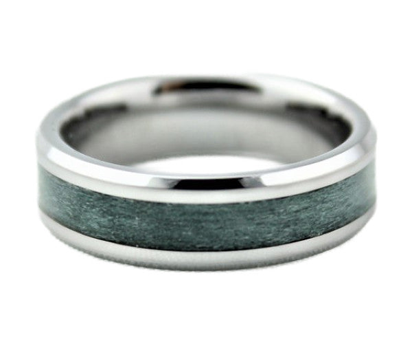 Tungsten Ring with Dyed Maple Inlay