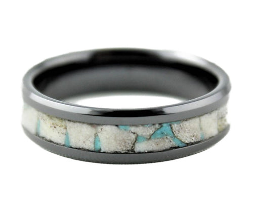 Black Ceramic Ring with Antler and Turquoise Inlay