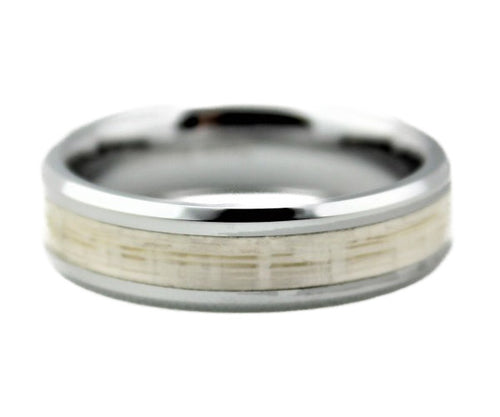 Tungsten Ring with White Lacewood Inlay