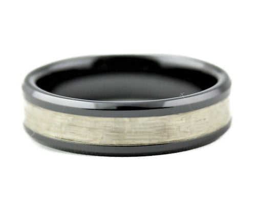 Black Ceramic Ring with White Lacewood Inlay