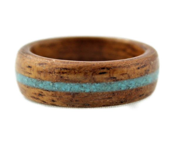 Mahogany Bentwood Ring with Turquoise Inlay
