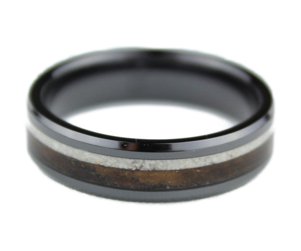 Black Ceramic Ring with Walnut Burl and Howlite Inlay