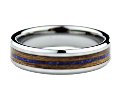 Tungsten Ring with Lapis Lazuli and Teakwood Inlay