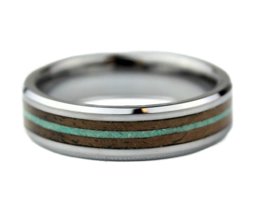 Tungsten Ring with Dyed Magnesite and Walnut Burl Inlay