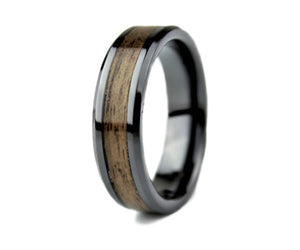 Black Ceramic Ring with Walnut Inlay