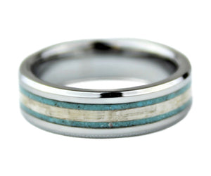 Tungsten with White Lacewood and Turquoise - 6mm Ring