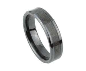 Black Ceramic Ring with Black Dyed Bird's Eye Maple Inlay