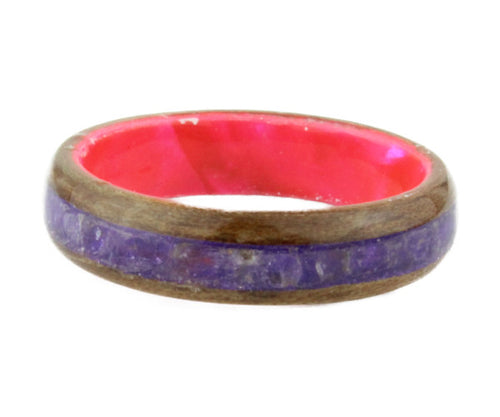 Walnut Bentwood Ring with Amethyst Inlay and Celluloid Band