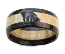 Load image into Gallery viewer, Gray Birds Eye Maple and Curly Maple Wood Bentwood Ring with Custom Engraved Bear