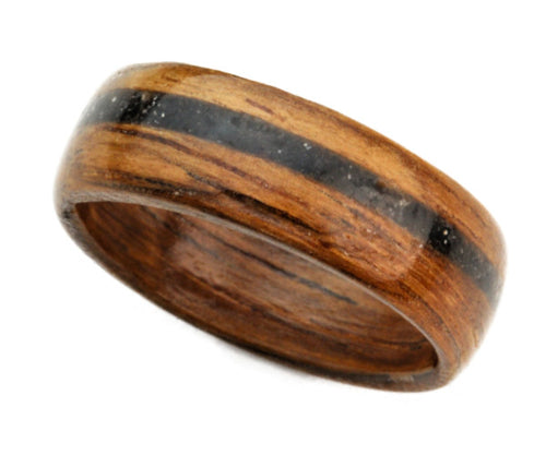 Sapele Bentwood Ring with Black Obsidian Inlay