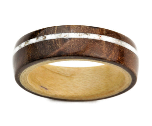 Walnut Burl Bentwood Ring with Maple Inner Band and Crushed Howlite Inlay