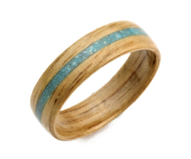 Oak Wood Bentwood Ring with Crushed Turquoise Inlay