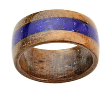 Load image into Gallery viewer, Walnut Bentwood Ring with Lapis Lazuli Inlay