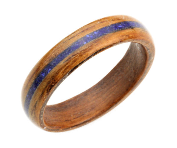 Mahogany Bentwood Ring with Crushed Lapis Inlay