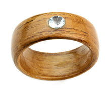 Load image into Gallery viewer, Teakwood Bentwood Ring with Genuine Topaz Stone