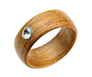Teakwood Bentwood Ring with Genuine Topaz Stone