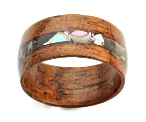 Sapele Bentwood Ring with Sea Shell Inlay