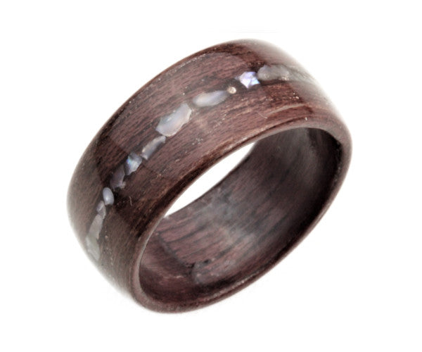 Purple Heart Wood Bentwood Ring with Real Pearl Inlay