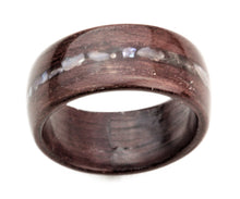 Load image into Gallery viewer, Purple Heart Wood Bentwood Ring with Real Pearl Inlay