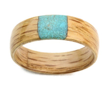 Load image into Gallery viewer, Oak Wood Bentwood Ring with Square Crushed Turquoise Inlay