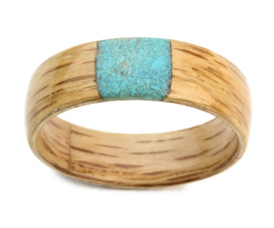 Oak Wood Bentwood Ring with Square Crushed Turquoise Inlay