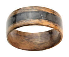 Load image into Gallery viewer, Walnut Bentwood Ring with Black Carbon Fiber Inlay