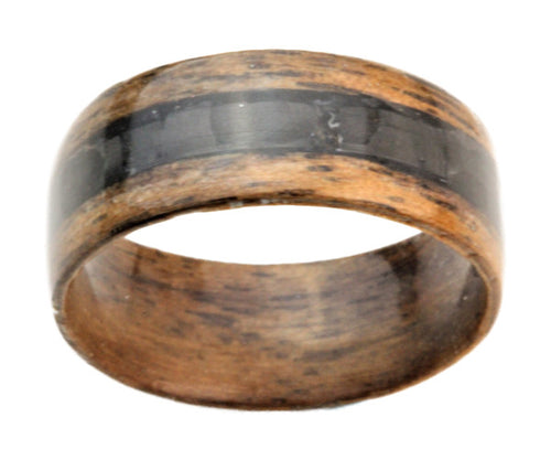 Walnut Bentwood Ring with Black Carbon Fiber Inlay