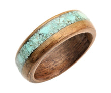 Load image into Gallery viewer, Walnut Bentwood Ring with Dyed Magnesite Inlay