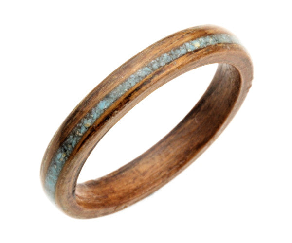 Mahogany Bentwood Ring with Crushed Turquoise Inlay