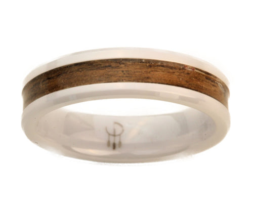 White Ceramic Ring with Walnut Wood Inlay