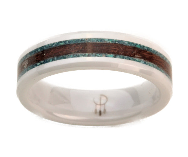 White Ceramic Ring with Walnut Burl Wood and Turquoise Inlay