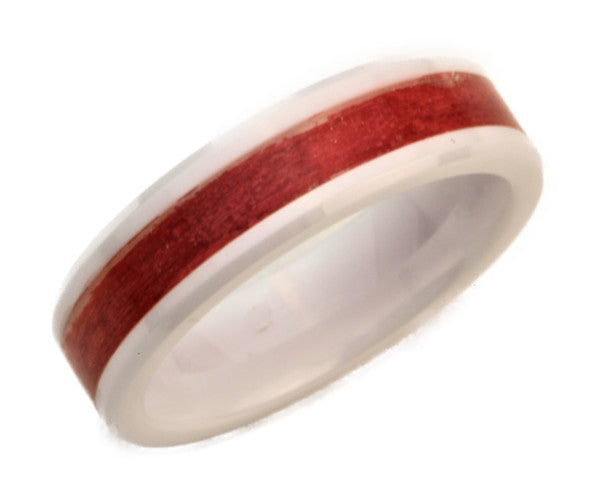 White Ceramic Ring with Red Dyed Maple Wood Inlay
