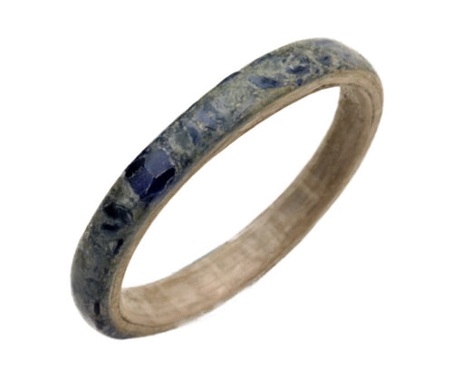 White Lacewood Bentwood Ring with Blue Glass Overlay