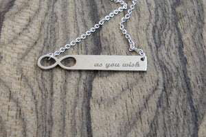 Infinity Silver Bar Necklace