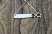 Load image into Gallery viewer, Infinity Silver Bar Necklace