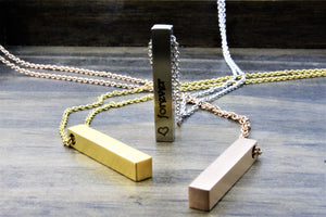 3D Brushed Bar Necklace