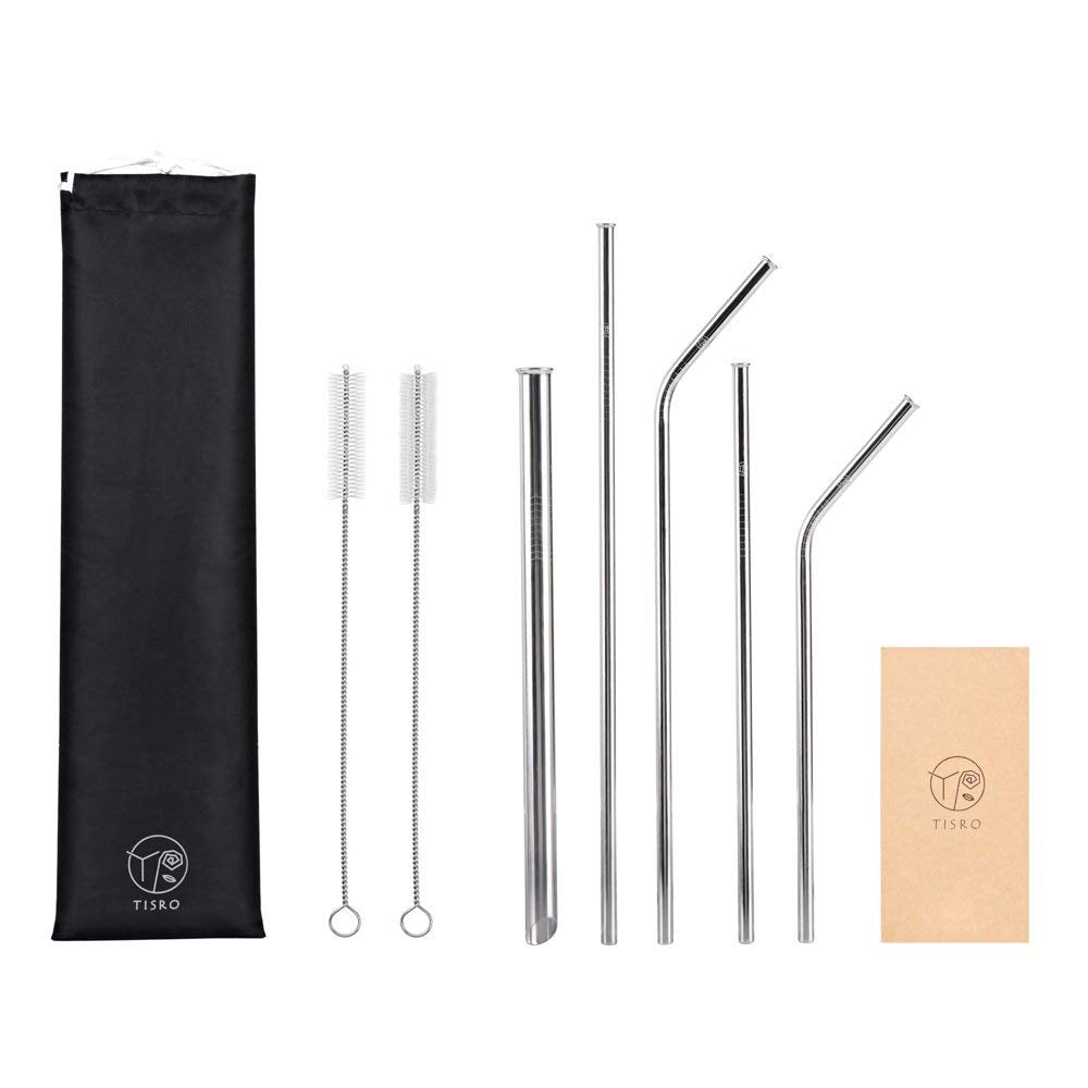 TISRO 5 Pcs. Assorted #1 Mouth-Safe Metal Straws with Cleaning Brushes and Carry Bag.