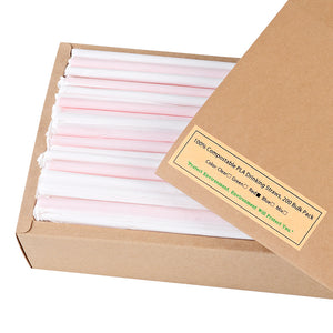 "TISRO 100% Biodegradable & Compostable 8"" PLA Wrapped Straw (Package of 200, Clear&Red)"