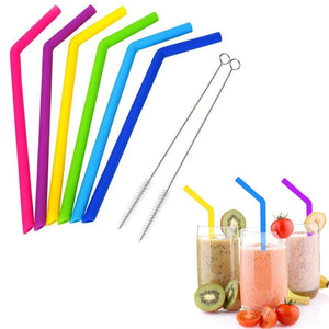 TISRO 6Pcs Reusable Silicone Drinking Straws with 2pcs Cleaning Brushes