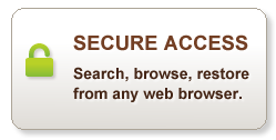 Secure Access-Search, browse, restore, from any web browser.