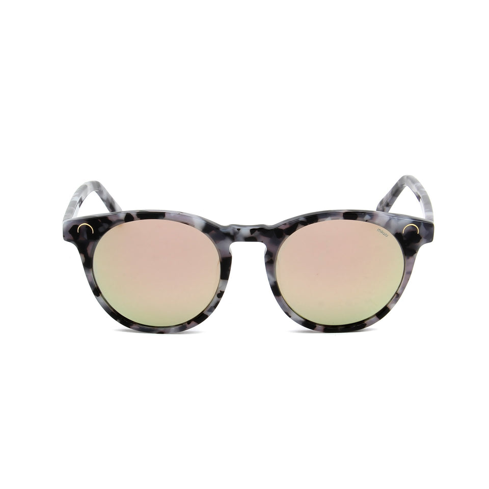 Maré Black & White Motley - Front View - Pink lens - Mawu sunglasses