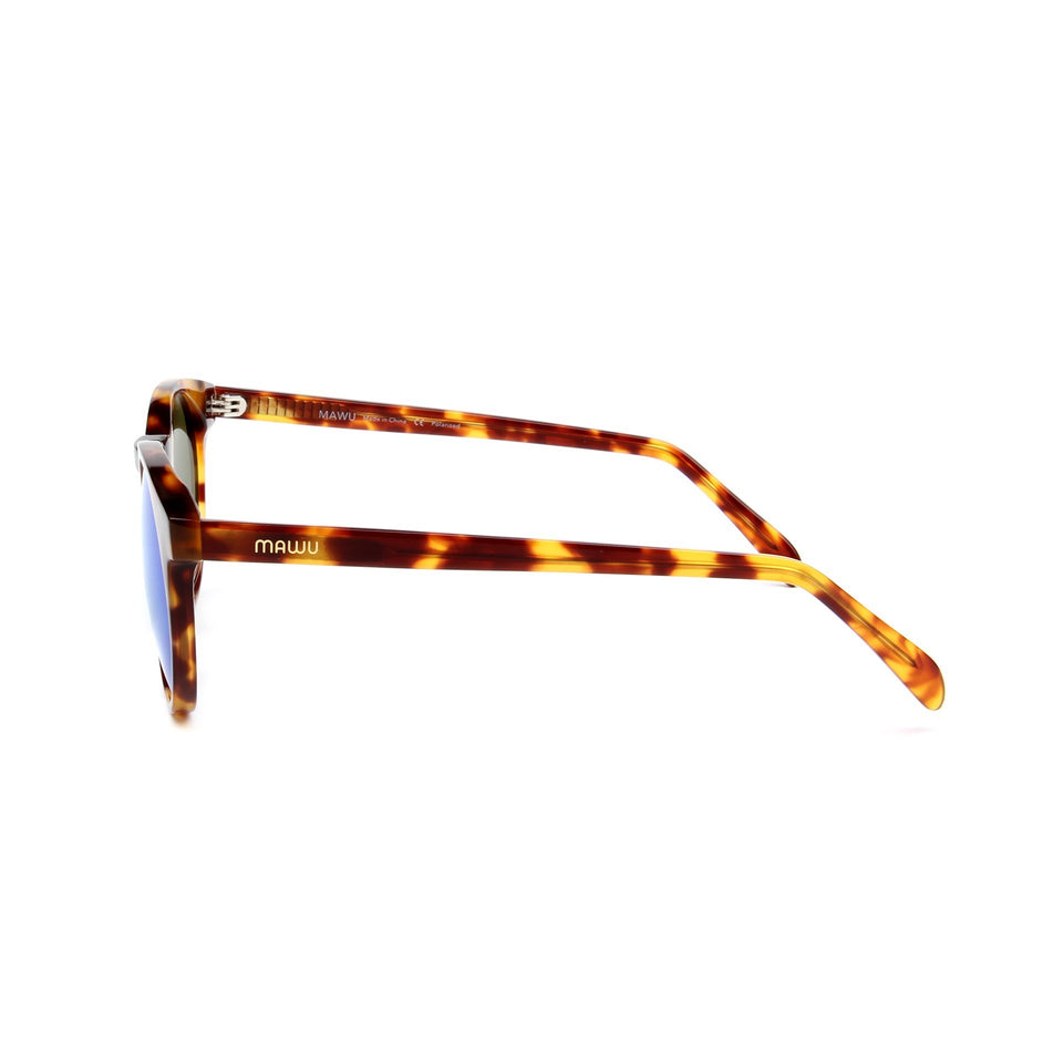 Maré Tortoise - Side View - Blue lens - Mawu sunglasses
