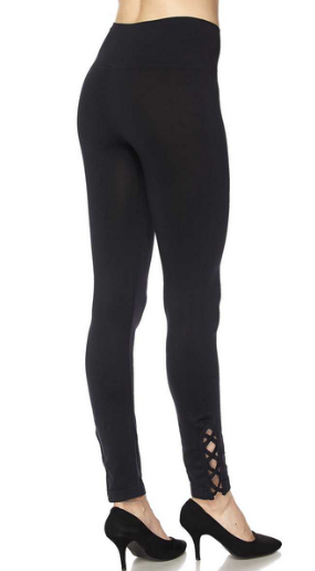 Solid Yoga Leggings With Lattice Ankle - Black