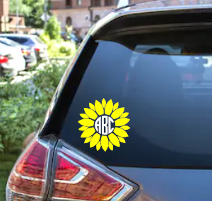 Sunflower Monogram Decal