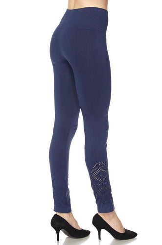 Navy Yoga Legging With Aztec Cutout