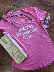 """Sweet As Strawberry Wine"" Ladies V-Neck"