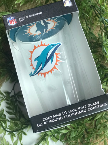 Miami Dolphins Pint Glass & Coaster Set
