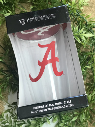 Alabama Mixing Glass & Coaster Set